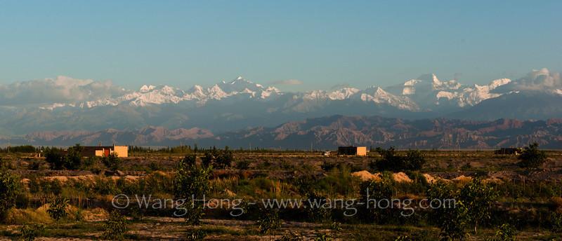 Village in morning light near Kucha