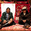 Elderly Kazak couple in yurt
