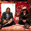 Elderly Kazak couple in yurt
