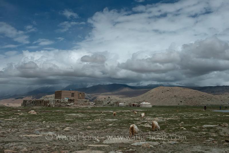 Tajik dwellings by Lake Karakul on way to Tashkurgan.