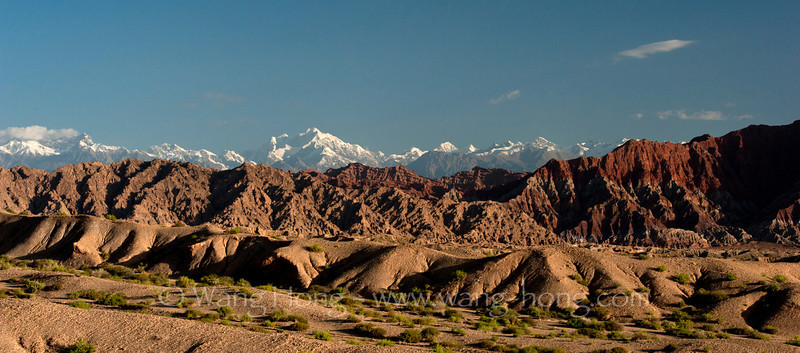 Snow-capped Heavenly Mountains and canyons near Kucha