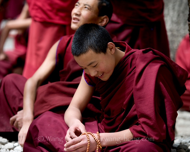 Young monk at Sera Monestry's debate session