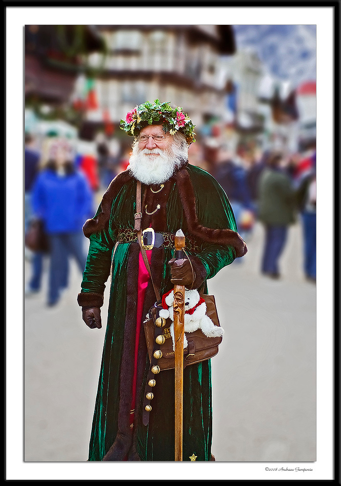 A Bavarian Santa Claus greets folks in the streets.