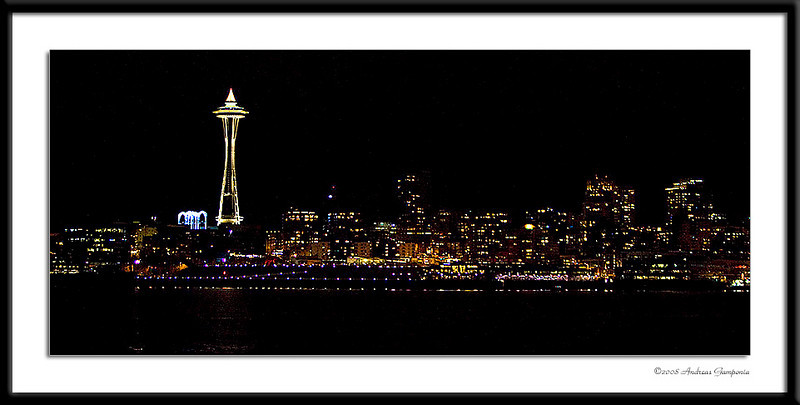 The classif skyline speaks for itself - everyone can recognize the lights of the Seattle Space Needle...
