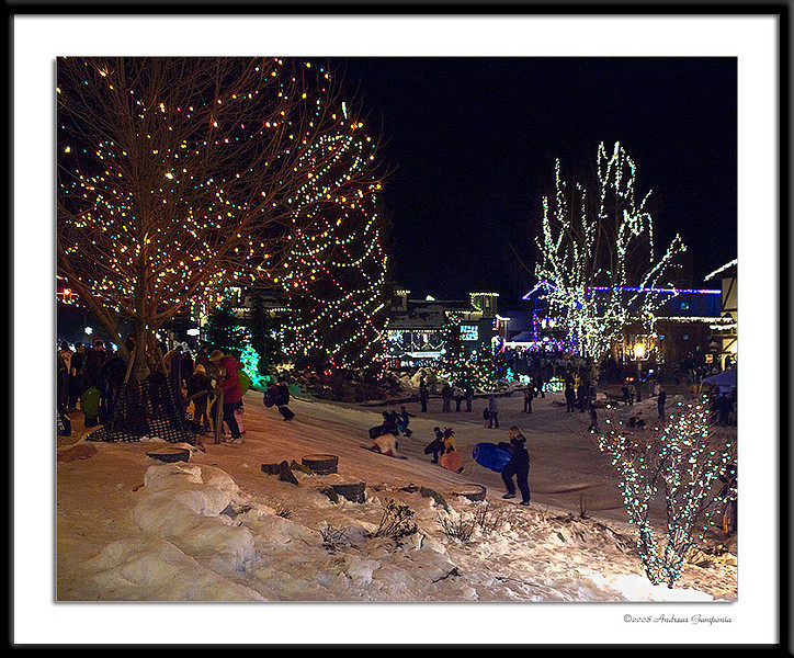 One of the most important features - a sledding hill for all of the kids to enjoy amongst the lights, music and festivity.