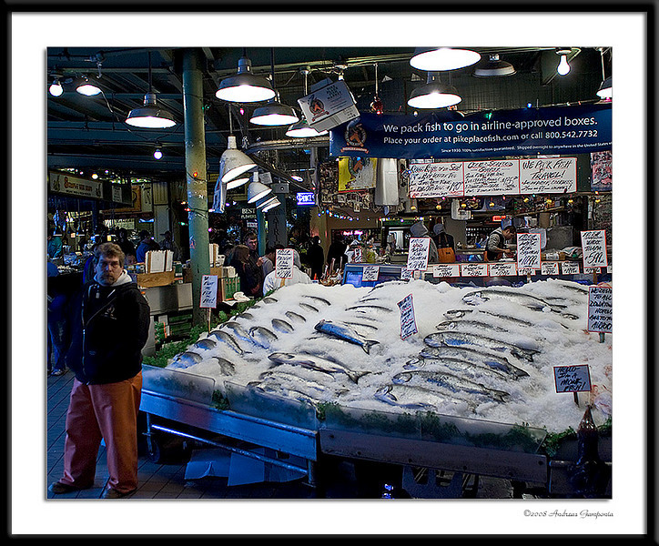 "This fish market in Pike Place Public Market is famous for throwing the fish from vendor to vendor in preparation for wrapping you ""catch of the day""."