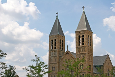 Church steeples in Akron, Ohio