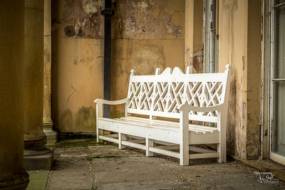 White bench at Heaton Hall, Manchester, UK
