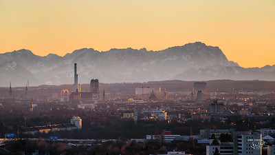 Munich skyline & Alps