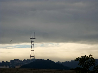 Clouds breaking up behind Sutro