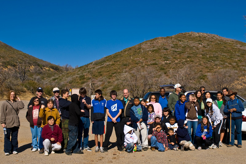 The Franks (far right) suggested that San Diego Family Church members spend Black Friday hiking instead of shopping.