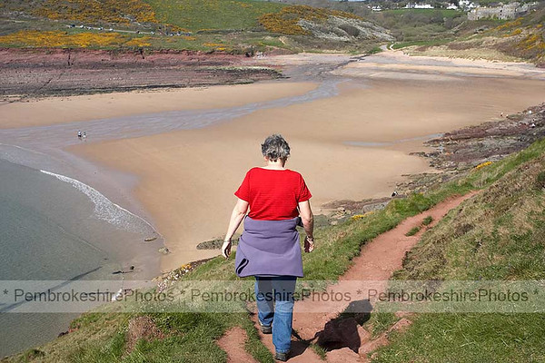 Passing  Manorbier Beach.