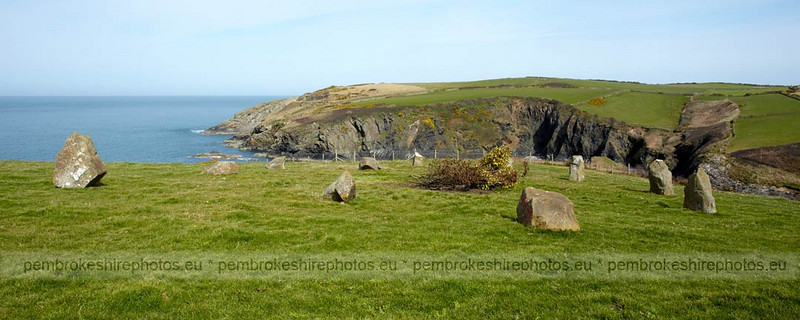 Standing Stones, Coast Path above Aber Draw