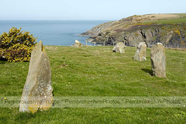 Standing Stones, Coast Path above Aber Draw