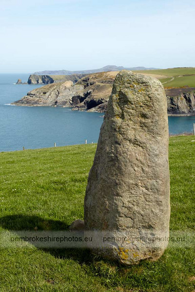 Standing Stone, Coast Path above Aber Draw