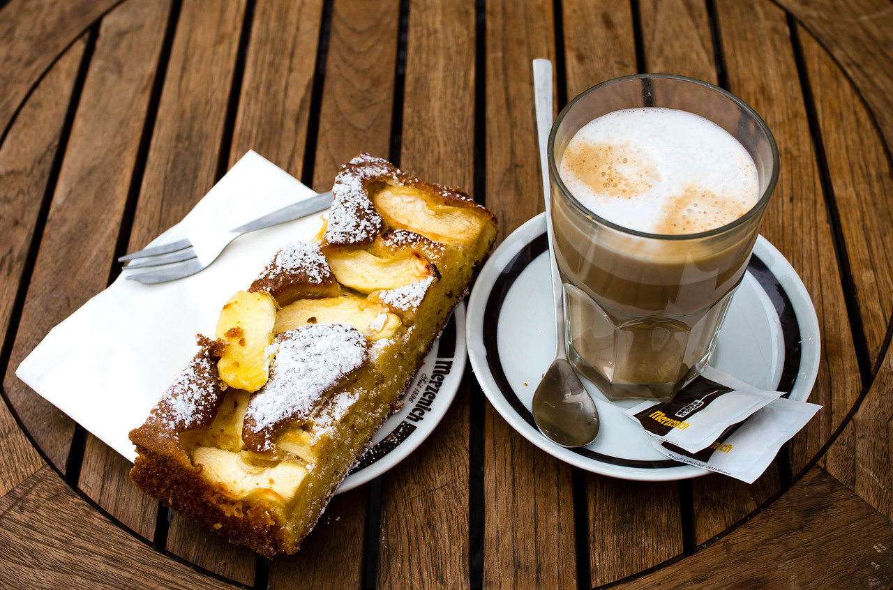 Apfelstrudel (apple pie) and coffee for breakfast in Cologne