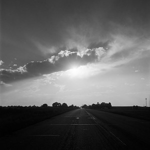 Sunbeams on the road, Eastern Colorado