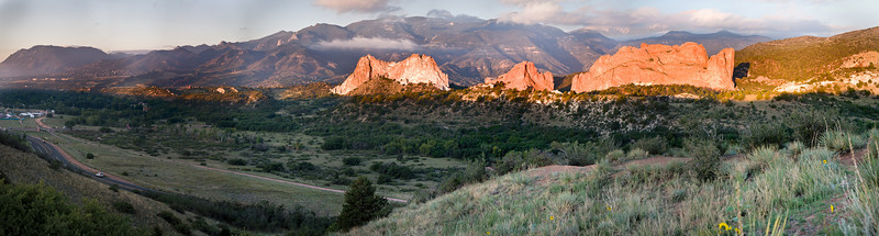Hand held panorama from Mesa road.  Tried to get in early and take some close up morning shots, but they had it closed for a running event.