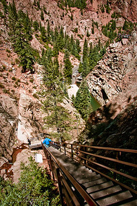 Looking down the stairs from the top of Seven Falls, Colorado Springs.