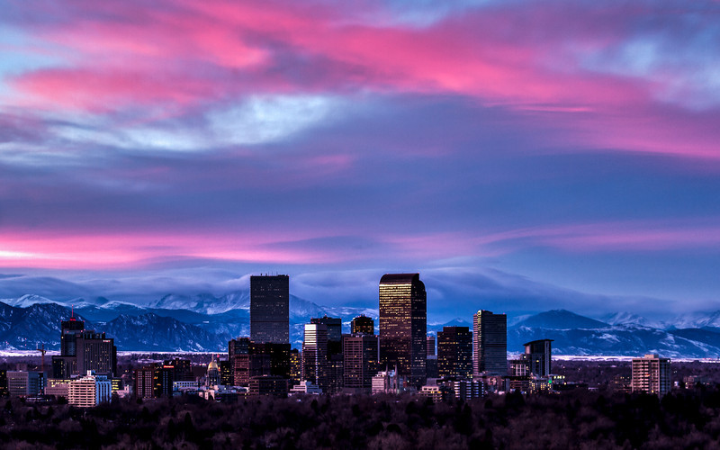 Denver Skyline Sunset   This is an HDR Image from back in December.