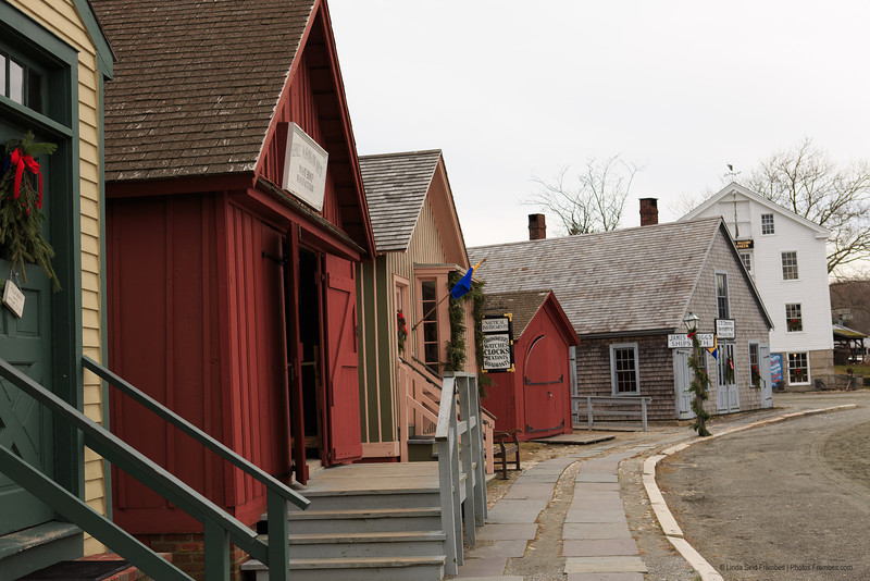 A street in the Mystic Seaport's 19th century village.
