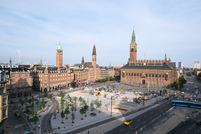 Rådhusplads København, seen from the public top floor of the new CitizenM Hotel
