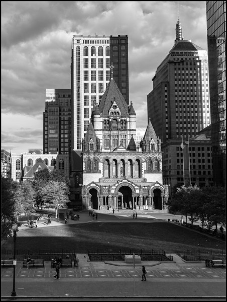 A view of Trinity Church from the Boston Public Library reading room window
