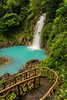 View of the waterfall on the Rio Celesete as you walk down to it - Yes those colors are real!
