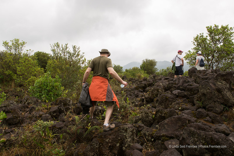 Climbing the old lava field.