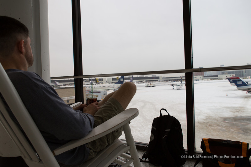 Looking out onto a snowy Logan Airport one day after a blizzard.