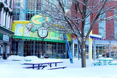 Snow covered Crayola Plaza