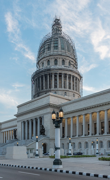 Similar to the Capitol building in Washington, DC, but actually modeled on the Panthéon in Paris, the building was started in 1926 and took 5000 workers three years, two months and 20 days to construct at a cost of US$17 million.  Recently restored (2018) and will now house the Cuban National Assembly. Set in the floor directly below the dome is a copy of a 24-carat diamond. Highway distances between Havana and all sites in Cuba are calculated from this point.