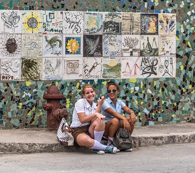 High School Girls in Fusterlandia, Cuba