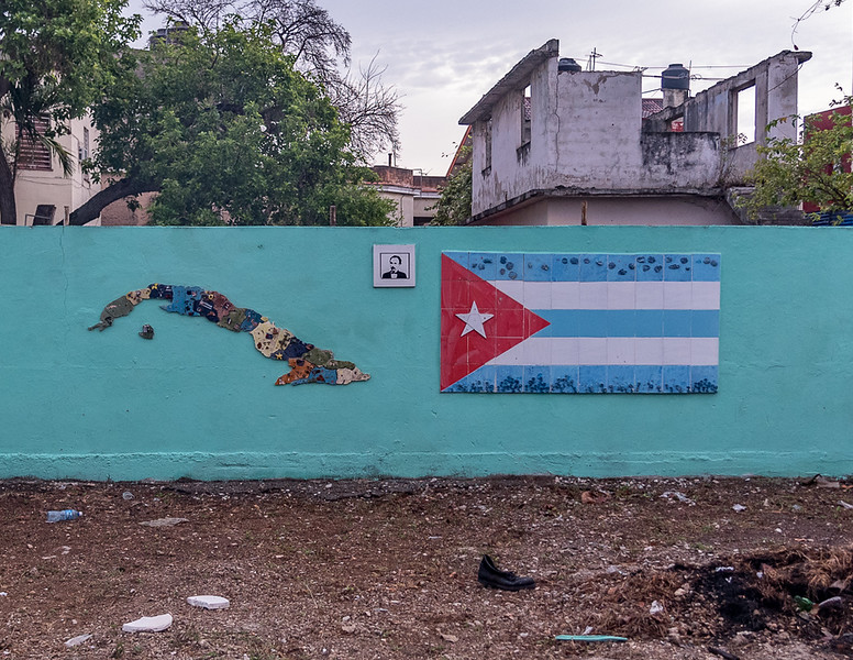Island of Cuba & Cuban Flag