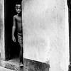 Boy Peeking Out the Door - B&W Copyright 2017 Steve Leimberg UnSeenImages Com _DSF1498