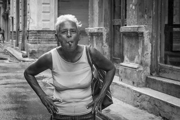 Havana Cuba, lady with cigar