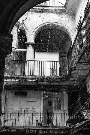 Rain Storm - Havana Courtyard B&W  Copyright 2017 Steve Leimberg UnSeenImages Com _DSF8932