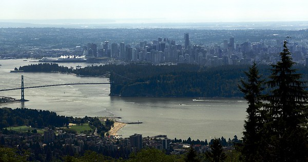 Stanley Park and downtown Vancouver as seen from the first viewpoint on Cypress Bowl Road.