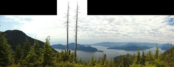 View of Bowen Island and Gibsons from the Bowen Lookout on Cypress Mountain.  This is only about two kilometers' walk from the parking lot, but the last half is quite steep.