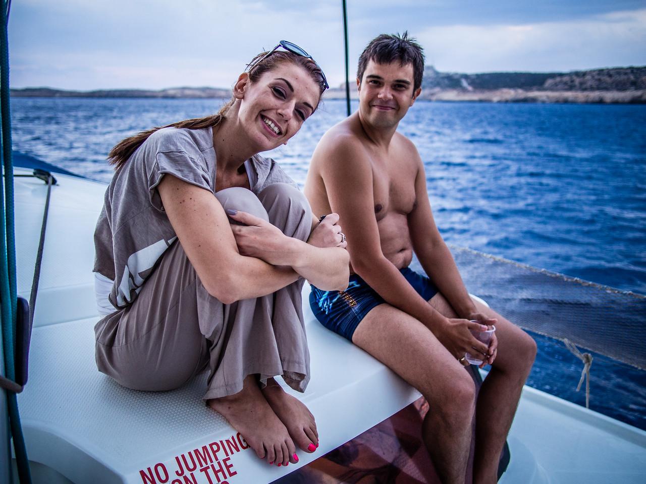 Tati and Aleksey in a boat