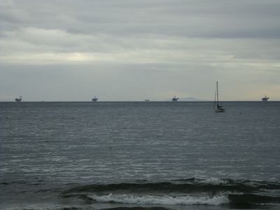 Oil rigs on the horizon