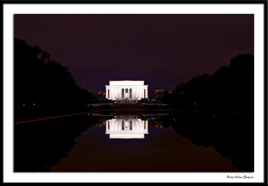 Looking towards the Lincoln Memorial across the reflecting pool.