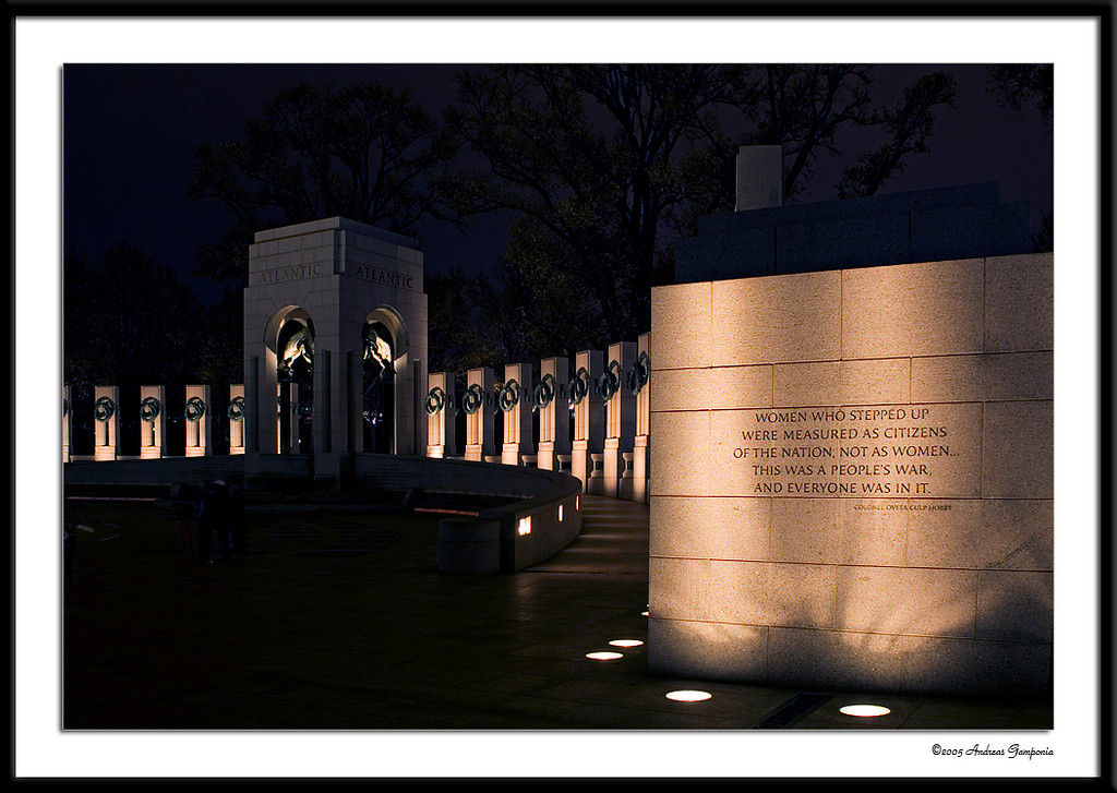 The wall leading to the Atlantic Theater Pavilion in the World War II Memorial.  Inscribed are the words: