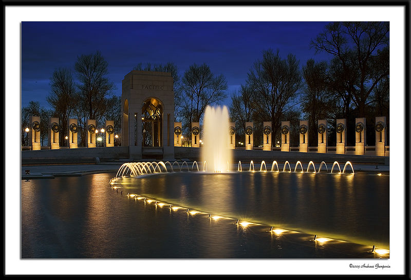 An early evening view of the World War II Memorial looking towards the Pacific Pavilion.