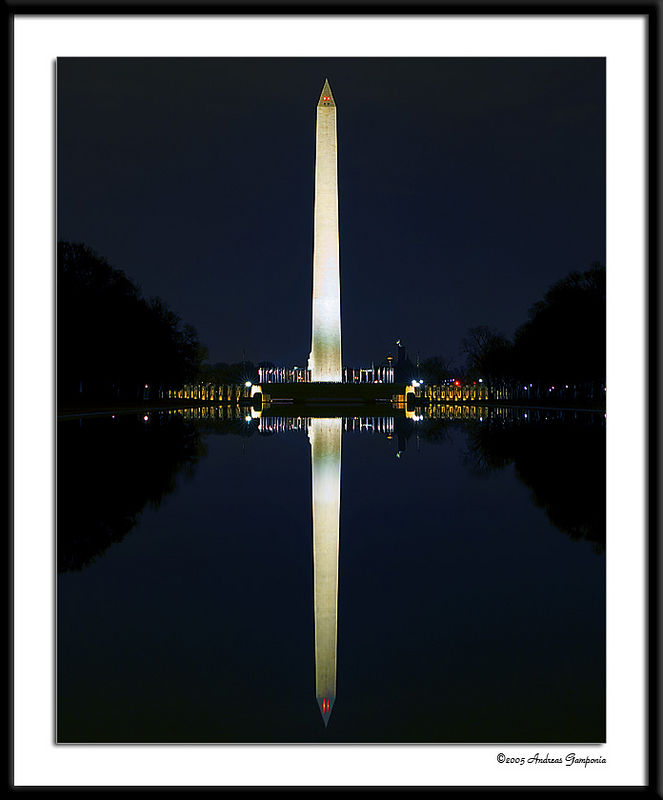 This photo is taken from in front of the Lincoln Memorial across the reflecting pool towards the World War II Memorial and the National Monument.