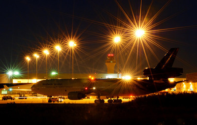 UPS air freight under the terminal lights.
