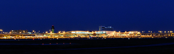 A shot of the DFW terminal at night.