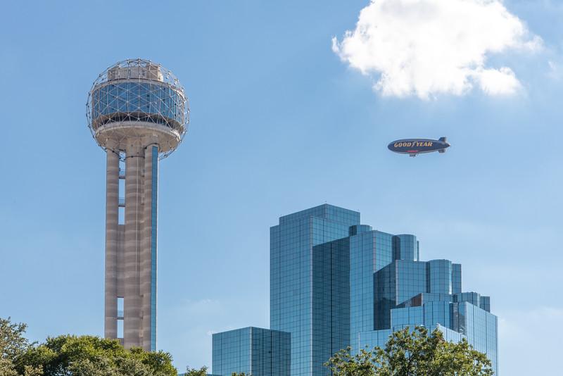 Reunion Tower, Hyatt Regency Dallas, Goodyear Blimp