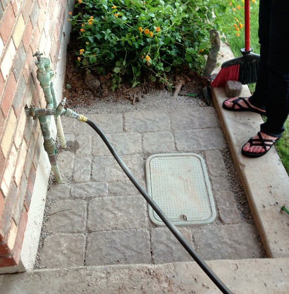 New pavers for hose reel storage