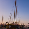 February 19th - Arabian dhows lined up on the beach at sundown.